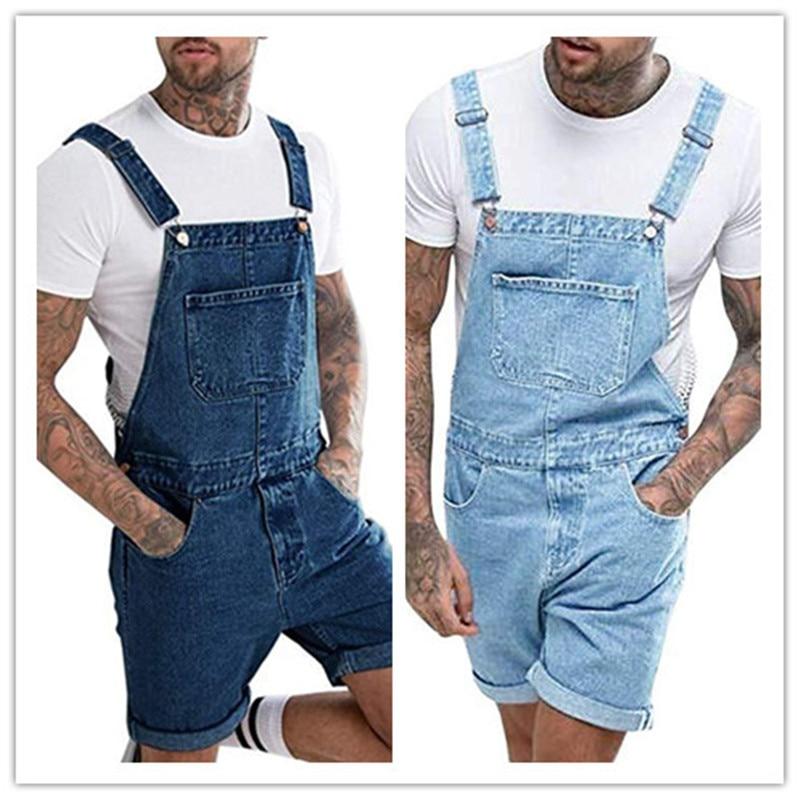 Men Summer Vintage Jeans Shorts Mens Fashion Hip Hop Slim Jumpsuit Blue Casual Denim Overalls Rompers Pants