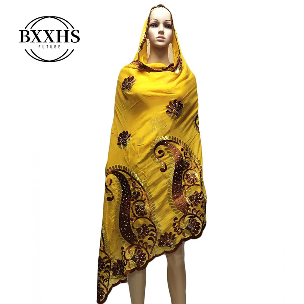 New Summer Women Scarf  2019 African muslim embroidery women scarf with stones,multifunctional shawls wrpas