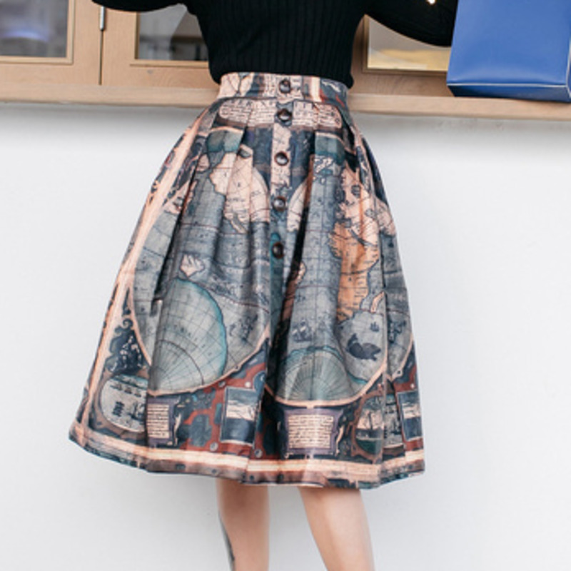 LANMREM World Map Print High Waist Single Breasted Loose Woman Puffy Skirt Personality Casual Wild Fashion 2020 Autumn New TV535