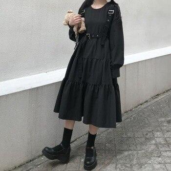 QWEEK Korean Dress for Women Short Sleeve Midi Black Dress Women Summer 2020 Fashion Streetwear  Vestido Casual Mujer Dress qweek korean dress for women short sleeve midi black dress women summer 2020 fashion streetwear vestido casual mujer dress