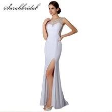 Сексуальное вечернее платье с длинным 2020 o-образным вырезом без рукавов сторона Сплит Кристалл бисероплетение Пром формальные платья Vestidos халат де Суаре AJ022