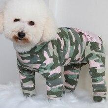 Комбинезон для собаки, одежда для щенка, защитный комбинезон для живота для маленьких собак, хлопок, пижама на молнии, карманная камуфляжная толстовка, мопс