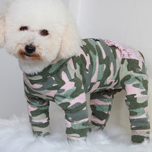 Pet Dog Jumpsuit Puppy Clothes Protect Belly Overalls For Small Dogs 100%Cotton Pajamas Zipper Pocket Camouflage Sweatshirt Pug(China)