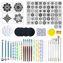 97Pcs Mandala Dotting Tools Set for Painting Rock Stone Stencil Acrylic Stick Brush Gem Sticker Sponge