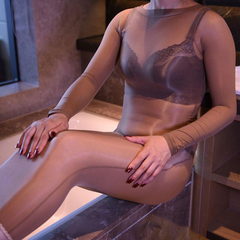 Sexy 8D Vestido Brilhante Óleo Brilhante Pura Órgão de lotação para As Mulheres Bodycon Vestido Ver Através Bodysuit Seda Bodyhose Passo Vestido m27