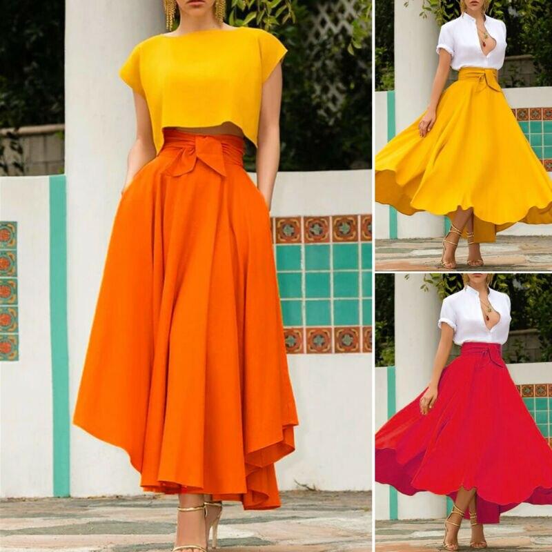 Women High Waist Flared Pleated Long Skirts Streetwear OL   Mid-Calf Costume A-Line Skirt 2019 New Fashion