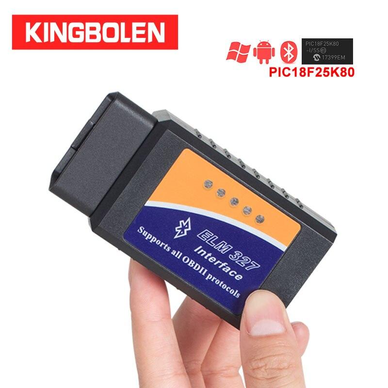 Диагностический сканер ELM327 OBDII, Bluetooth V1.5, чип PIC18f25k80, 327 в
