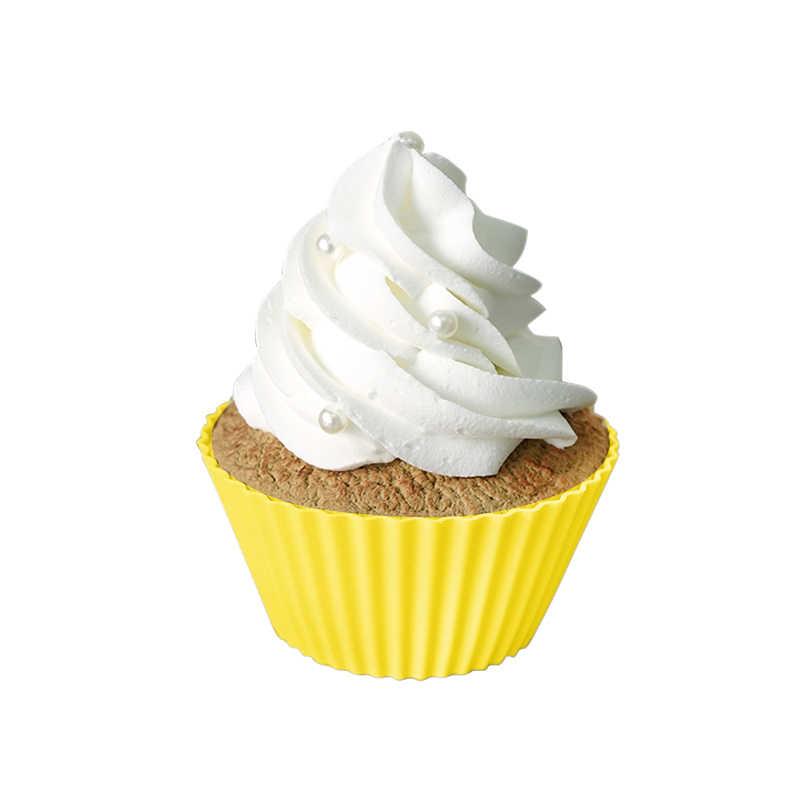 1PC Muffin Cupcake Silikon Cangkir Kue Bentuk Cupcake Liner Baking Muffin Kotak Piala Case Kue Cetakan Nampan DIY Dekorasi cetakan Bakeware