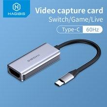 Hagibis Type-C Video Capture Card Hdmi-Compatibel Usb 1080P Hd Game Record Voor PS4/5 Schakelaar Live Streaming Broadcast Camera
