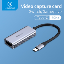 Hagibis Type-C Video Capture Card HDMI-compatible to USB 1080P HD Game Record for PS4/5 Switch Live Streaming Broadcast Camera