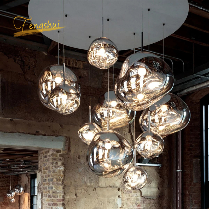 Modern LOFT Design LED Pendant Lights LOFT Coffee Glass Pendant Lamp Study Kitchen Fixtures Villa Duplex Apartment Hanging Lamp