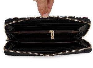 Image 5 - Hohe Qualität Luxus Diamant Blume Pu Leder Mode Geldbörse Karte Halter Lange Brieftaschen Frauen Clutch Tasche Geld Tasche Zipper tasche