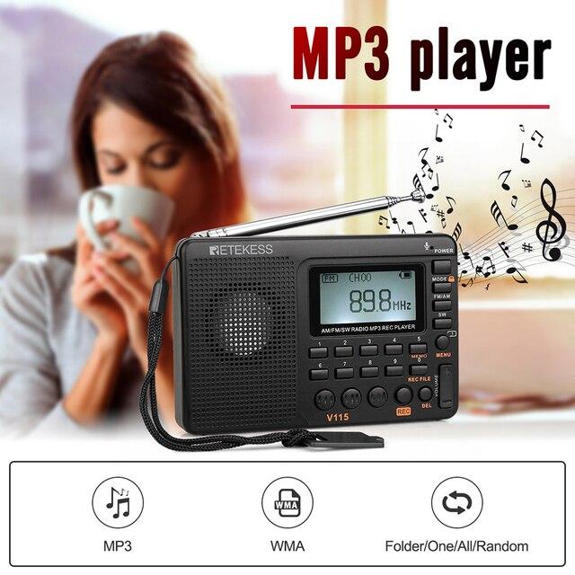 RETEKESS V115 Radio AM FM SW Pocket Radio Shortwave FM Speaker Support TF Card USB REC Recorder Sleep Time 6
