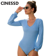 купить CINESSD V Neck Bodysuit Playsuit Sky Blue Lantern Long Sleeve Skinny Short Jumpsuit High Waist Elastic 2019 Soft Casual Bodysuit дешево
