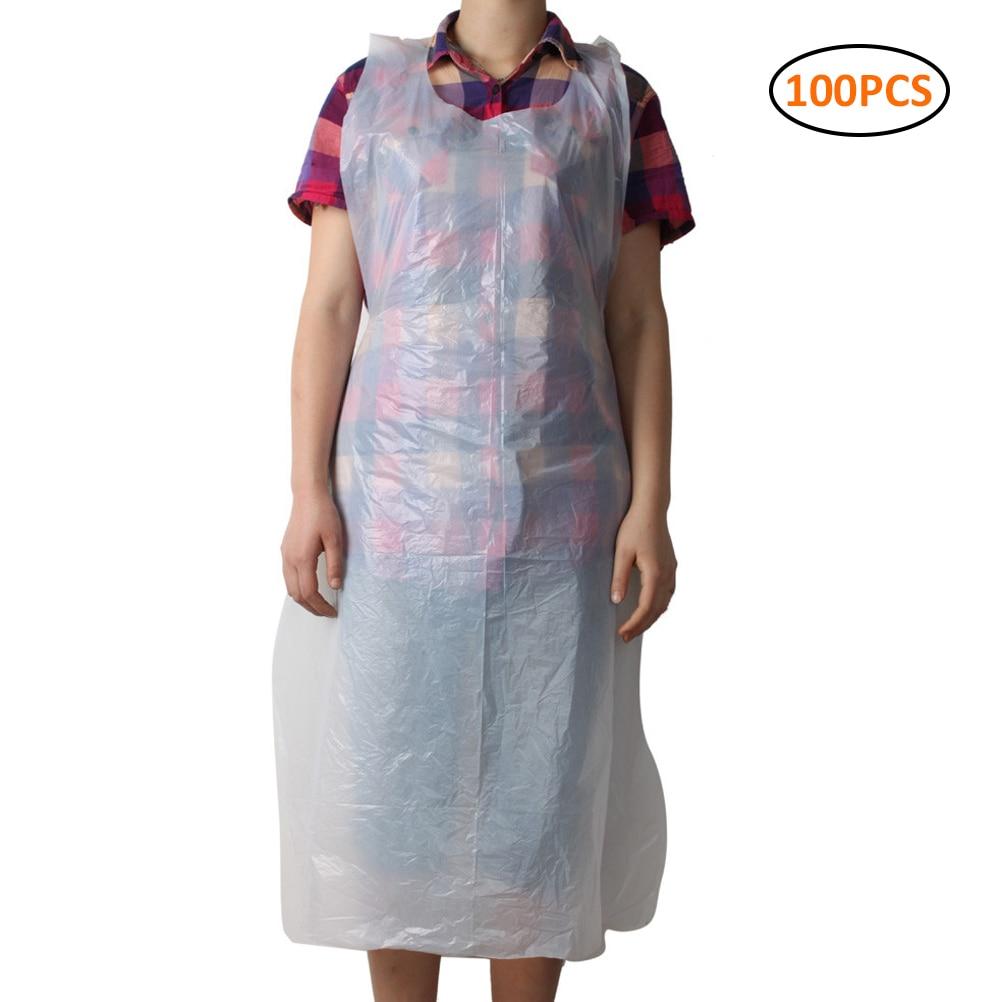 100pcs/set Transparent Disposable Apron Cooking Painting Waterproof For Men Women Dinner Party Apron Kitchen Cooking Apron