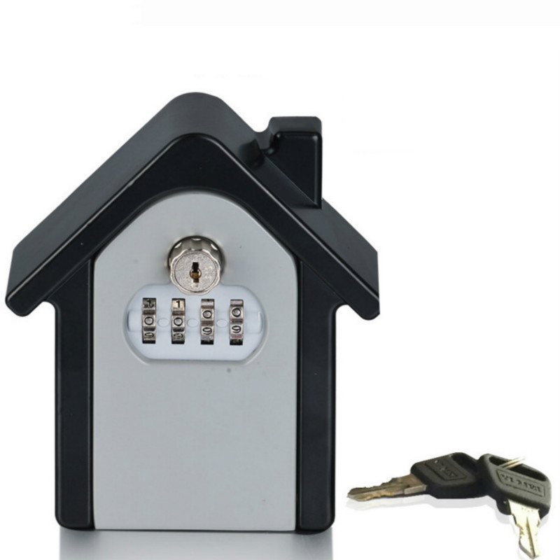 Storage Box Wall Mounted Combination Lock Box Key Safe Box Password & Key Lock Home Family Outdoor Safety Keys'