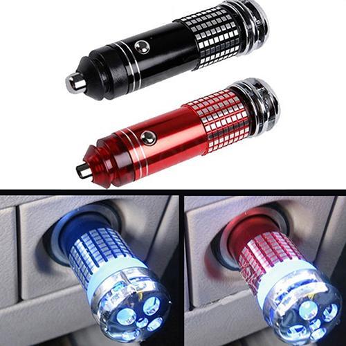 Mini Car Air Purifier Ion Generator Ozone Ionizer Diffuser Air Freshener Air Anion Oxygen Bar 12V Light Plug