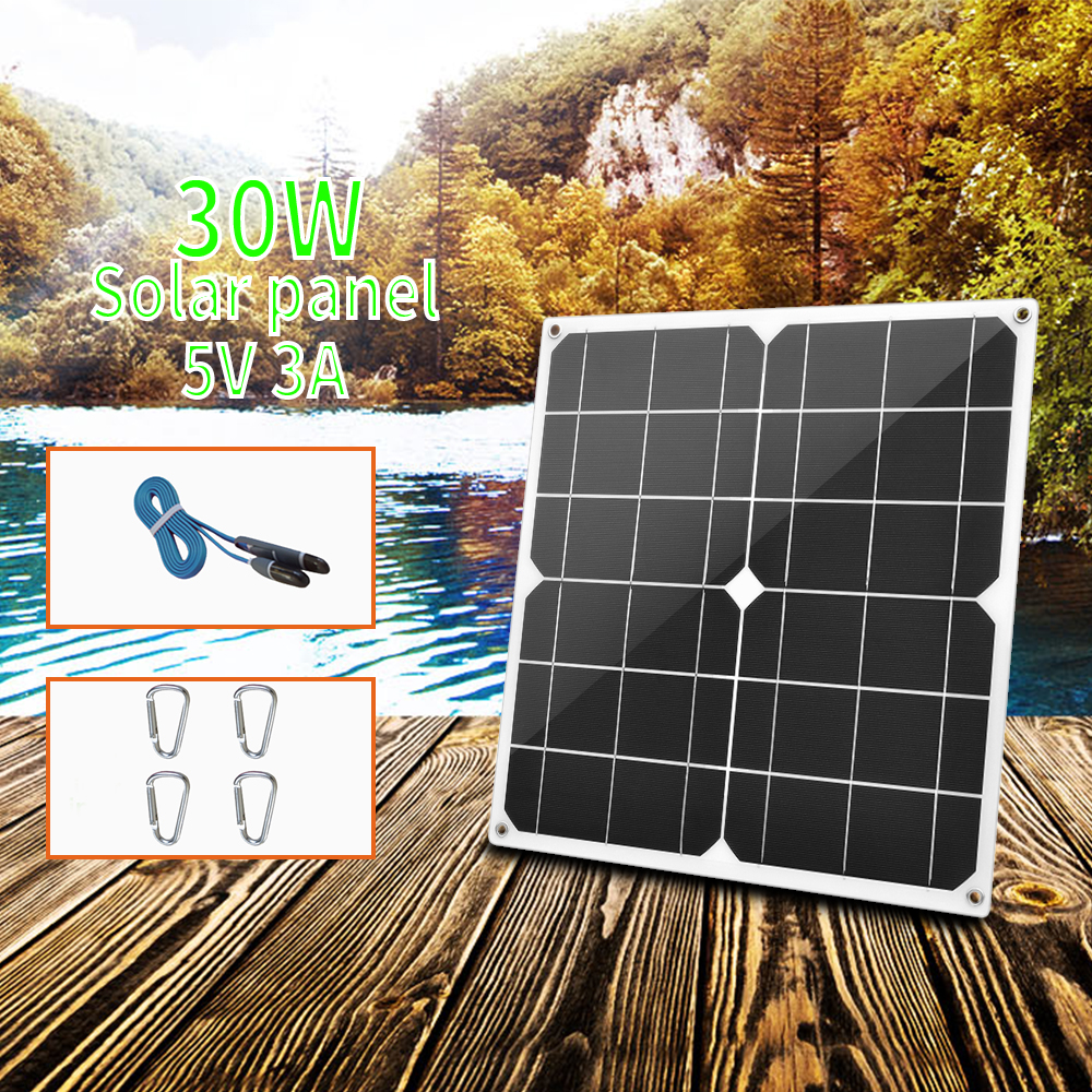 30W flexible Solar Panel 5V USB 3A Portable Monocrystalline Solar charger Cell for Car Yacht RV Charging Outdoor Emergency Light|Solar Cells| |  - title=