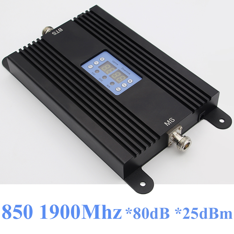 Lintratek 80dB Repeater 2G 3G Signal Booster 850 1900Mhz AGC Repeater 25dBm CDMA 850Mhz 3G 1900 Booster 80dB Amplifier Dual Band