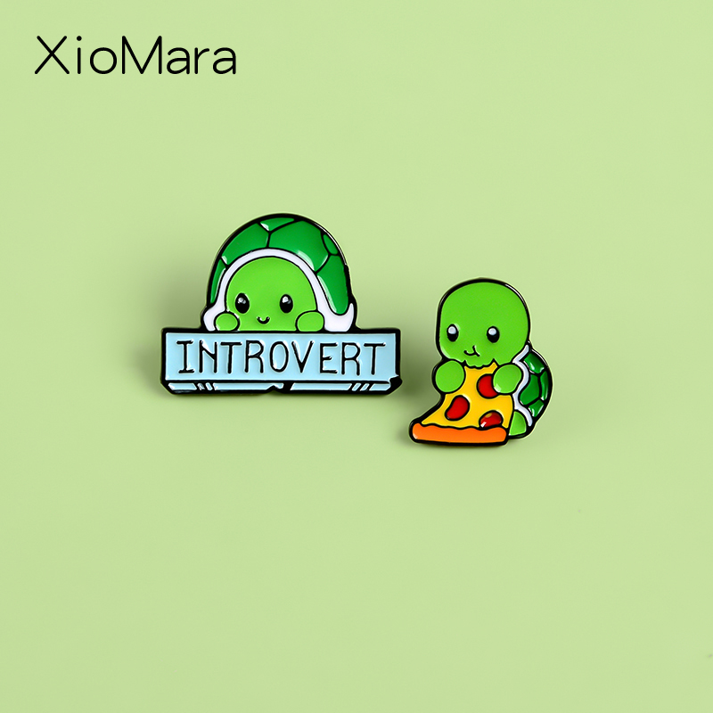 Introverts Tortoise Enamel Pins Social Phobia Anxiety Disorder Banner Enamel Pin Denim Coat Backpack Badge Pins For Friends Brooches Aliexpress