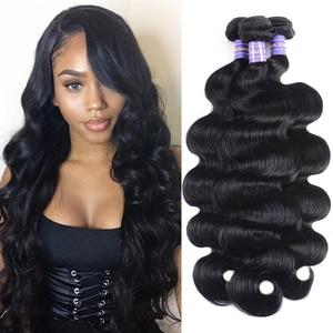 Image 1 - Longqi vücut dalga demetleri 1 3 4 adet brezilyalı saç dokuma paketler Remy saç doğal siyah insan saçı demetleri 8   30 inç demetleri