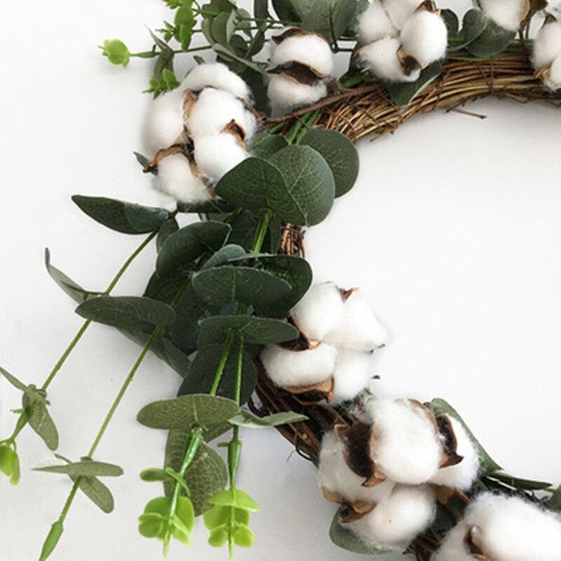 Handmade Natural Cotton Rattan Green Leaves Wreath Wall Lintel Hanging Wedding Festival Halloween Christmas Decoration