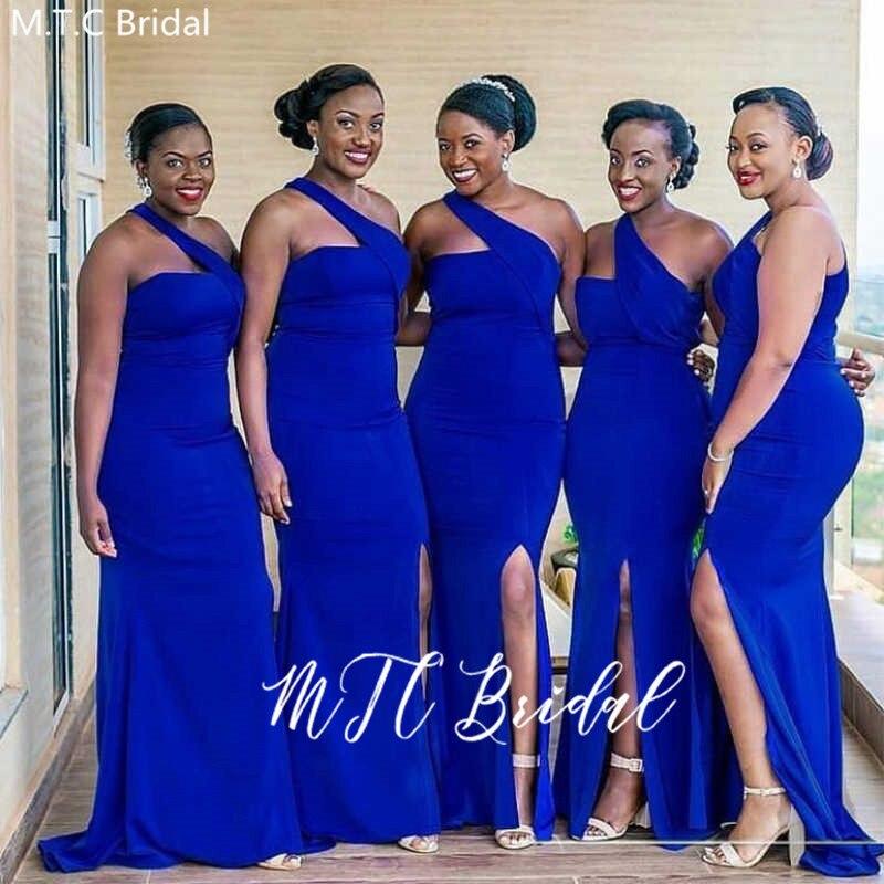 Robe demoiseur Honneur 2020 длинное платье подружки невесты из Африканской ткани королевский синий одно плечо оптовая продажа свадебные вечерние плать