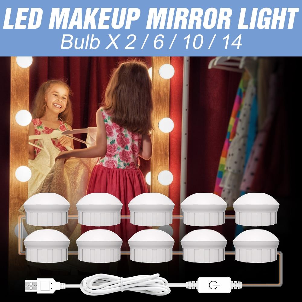 CanLing Led Makeup Mirror Wall Light Bulb USB Led Dressing Mirror Lamp DC 12V Hollywood Led Vanity Light Dimmable 2 6 10 14Bulbs