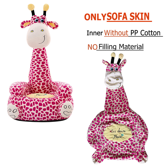 Washable Baby Sofa Support Seat Cover Cartoon Giraffe Toddler Learning To Sit Plush Chair Case without Filler Detachable Cover