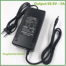 58.8V 3A pil şarj cihazı için 14S 48V Li ion pil elektrikli bisiklet lityum pil şarj cihazı yüksek kaliteli güçlü soğutma fanı ile