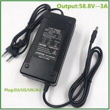 Chargeur de batterie 58.8V 3A pour 14S 48V Li ion batterie vélo électrique chargeur de batterie au lithium de haute qualité forte avec ventilateur de refroidissement