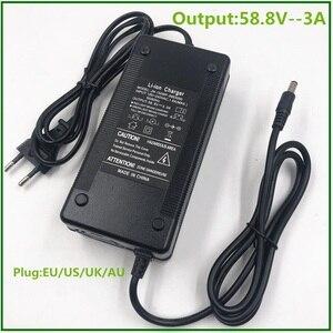 Image 1 - Chargeur de batterie 58.8V 3A pour 14S 48V Li ion batterie vélo électrique chargeur de batterie au lithium de haute qualité forte avec ventilateur de refroidissement
