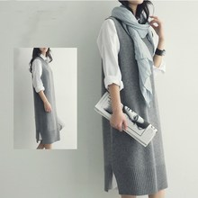 Autumn Women Simple Long Vest Sweater Vest, Sleeveless Casual Sleeveless Jumpers Pullover Loose O-Neck Casual Sweaters