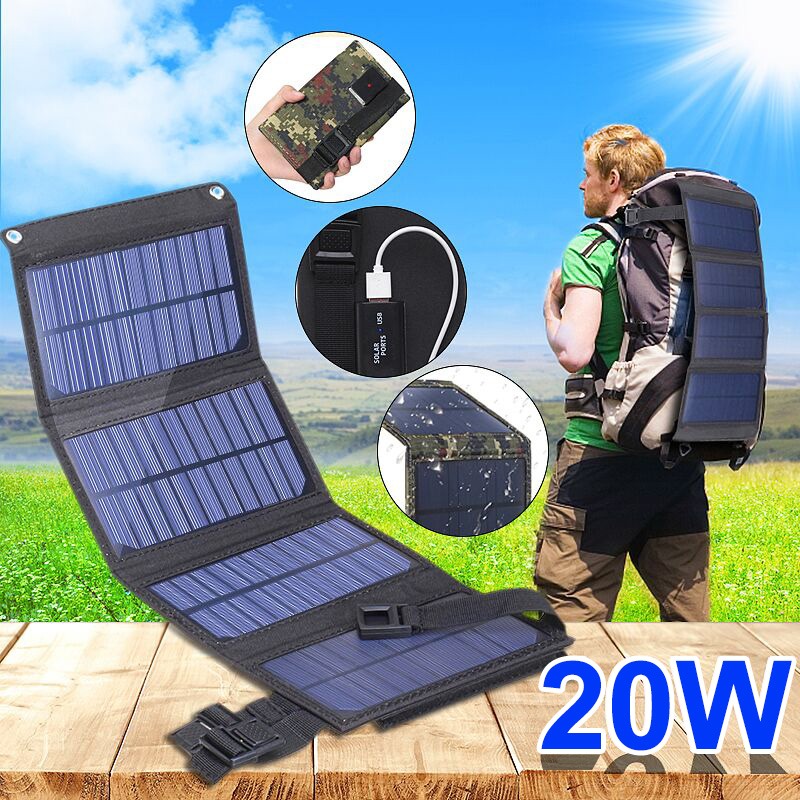 Portable 20W Solar Panel Folding Solar Cell Foldable Waterproof USB Port Charger Mobile Power Bank for Phone Battery Outdoor