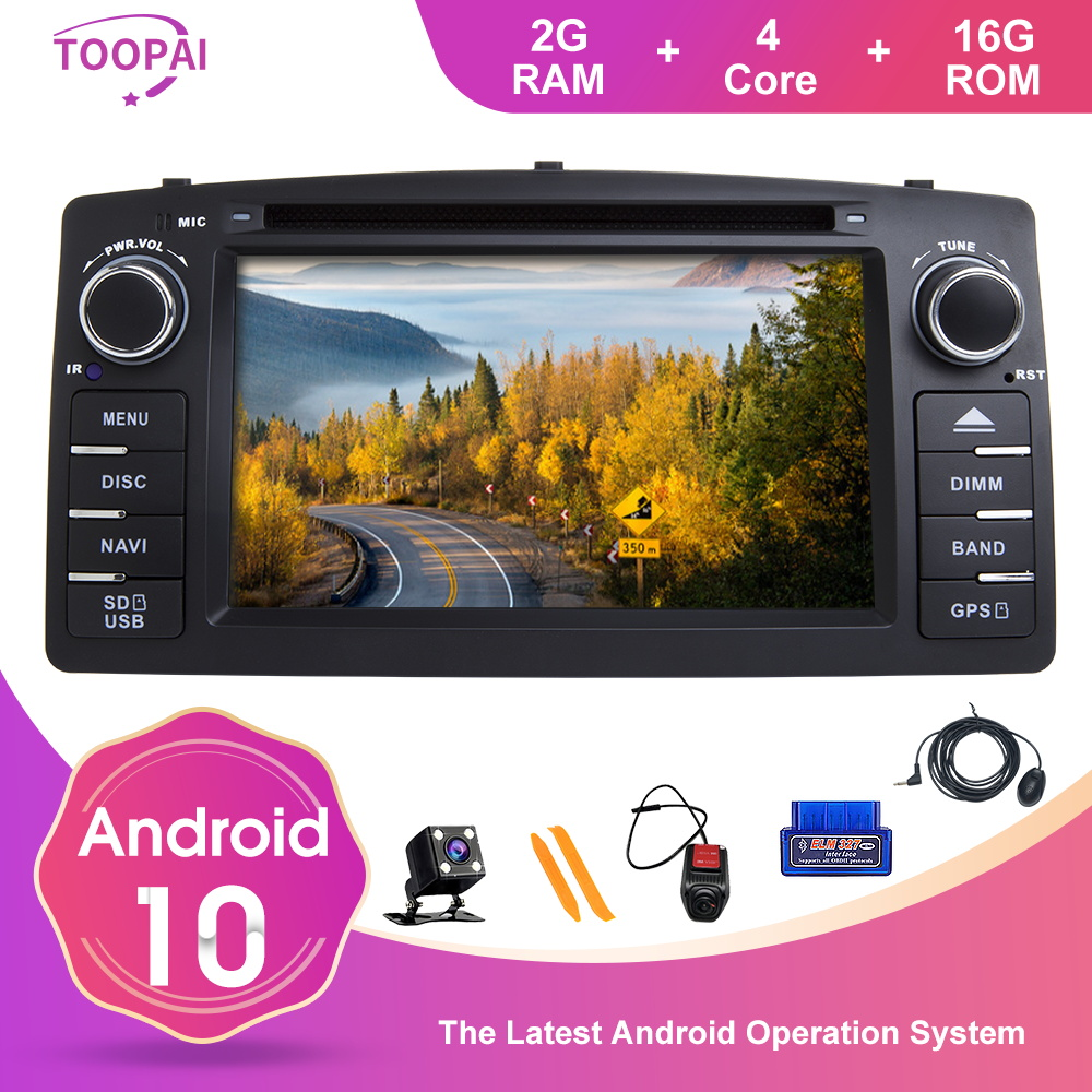 TOOPAI Android 10 For Toyota Corolla E120 BYD F3 Car Multimedia Navigation GPS SWC DVD CD Media Player Head Unit Auto Radio IPS