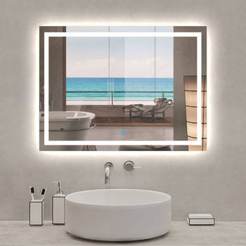 60x80cm Bathroom Mirror Illuminated LED, Touch Sensor, Defroster Demist, Upright Or Horizontal