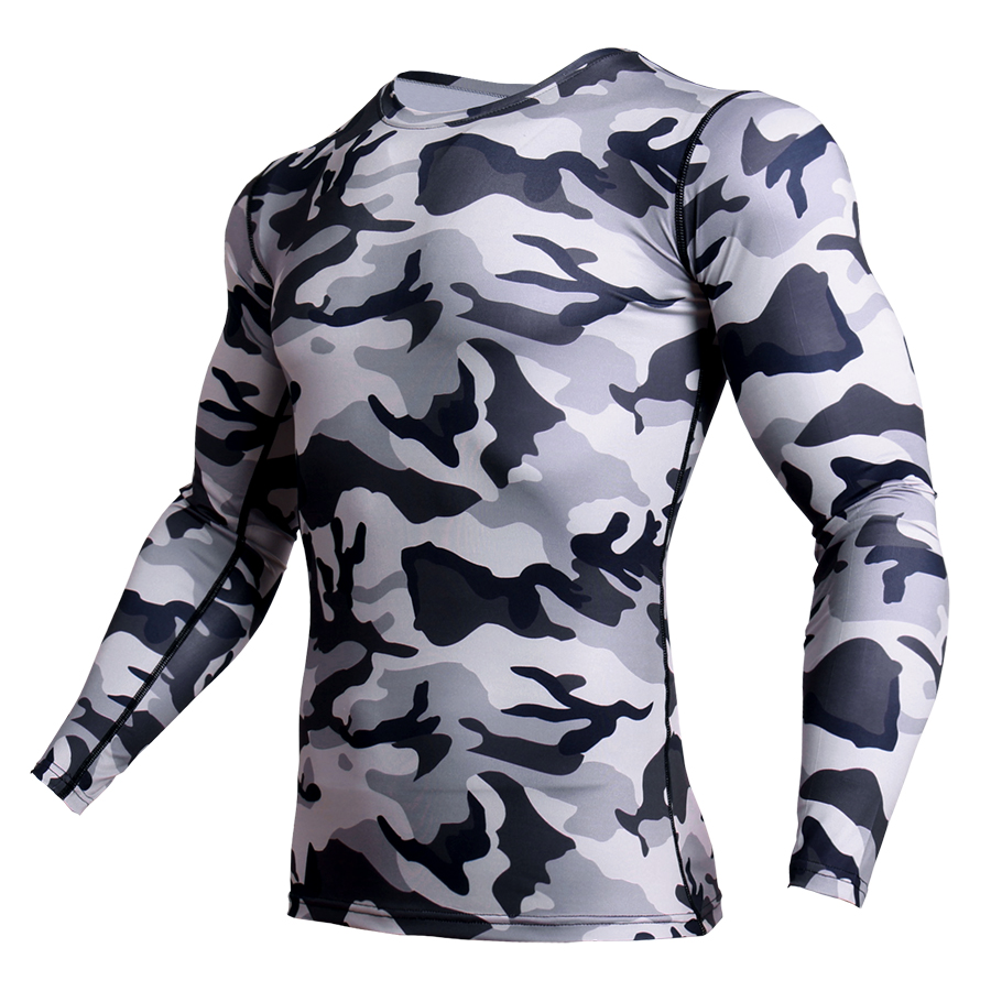 running - Men's camouflage T-shirt gym workout fitness T-shirt long-sleeved sports shirt training running shirt compression sports T-shirt