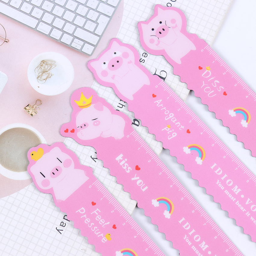 1PC Piggy Magnetic Ruler Kawaii Stationery Student Soft Design Measuring Drawing Ruler School Supplies