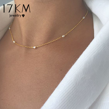 17KM Vintage Pearl Choker Necklaces For Women Crystal Star Chain Necklace Trendy Beads Pearl Chokers New Jewelry Gift 2