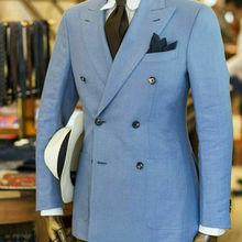 Синий двубортный светильник жениха смокинги Пик нагрудные Свадебные вечерние мужские костюмы на заказ
