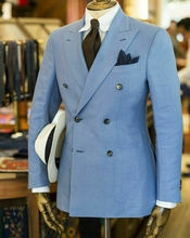 Light Blue Double-breasted Groom Tuxedos Peak Lapel Wedding Prom Party Men Suits Custom