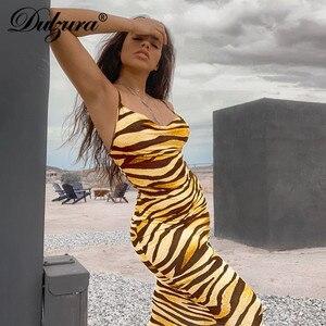 Dulzura animal print zebra women midi long dress bodycon sexy streetwear party 2020 summer clothes outfit clubwear sundress(China)