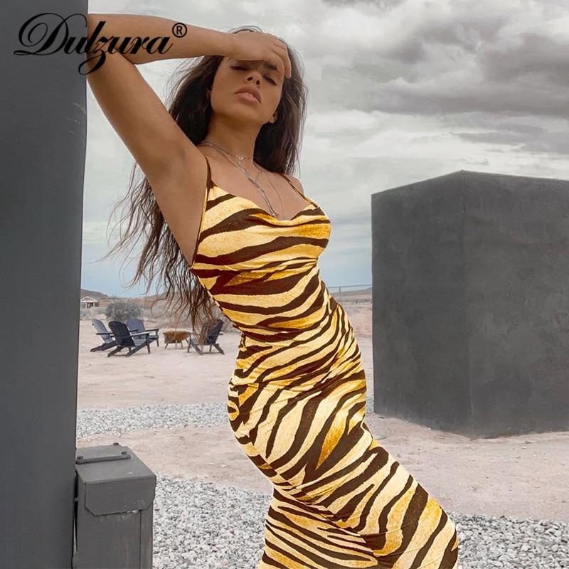 Dulzura Animal Print Zebra Women Midi Long Dress Strap Bodycon Sexy Streetwear Party 2019 Autumn Winter Clothes Outfit Clubwear