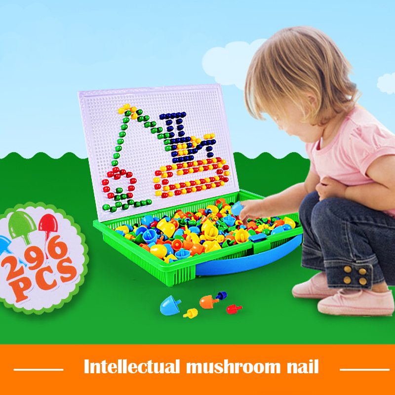 Children's Mushroom Nail Educational Insert Board 296 Piece Combination Mosaic Handmade Science And Education Toys Puzzle 3d