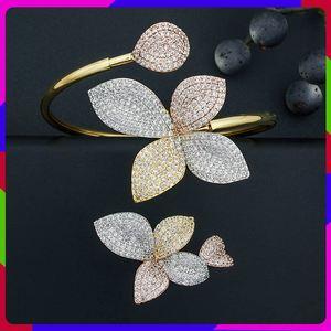 Image 1 - ModemAngel 럭셔리 플라워 리프 AAA 큐빅 지르코니아 여성 약혼 파티 선물 팔찌 Bangle And Ring Set