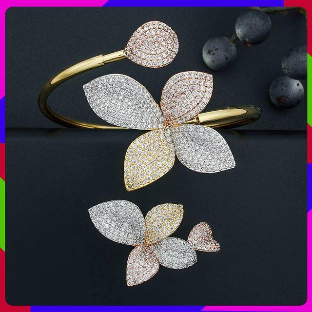 ModemAngel 럭셔리 플라워 리프 AAA 큐빅 지르코니아 여성 약혼 파티 선물 팔찌 Bangle And Ring Set