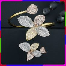 ModemAngel Luxury Flower Leaf AAA Cubic Zirconia Women Engagement Party Gift Bracelets Bangle And Ring Set