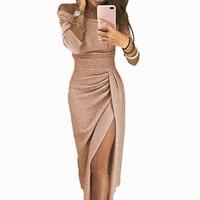 Модное Вечернее платье, сексуальные длинные платья, женские элегантные платья размера плюс, женское повседневное вечернее платье с блестка...