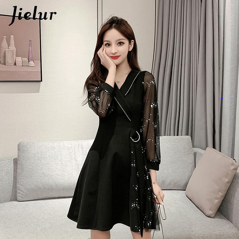 Jielur Mesh Sequins Black Dress Women Korean Midi Belt V-neck Fashion Chic Retro Sweet dress A-Line Slim Party Vestidos Mujer 1