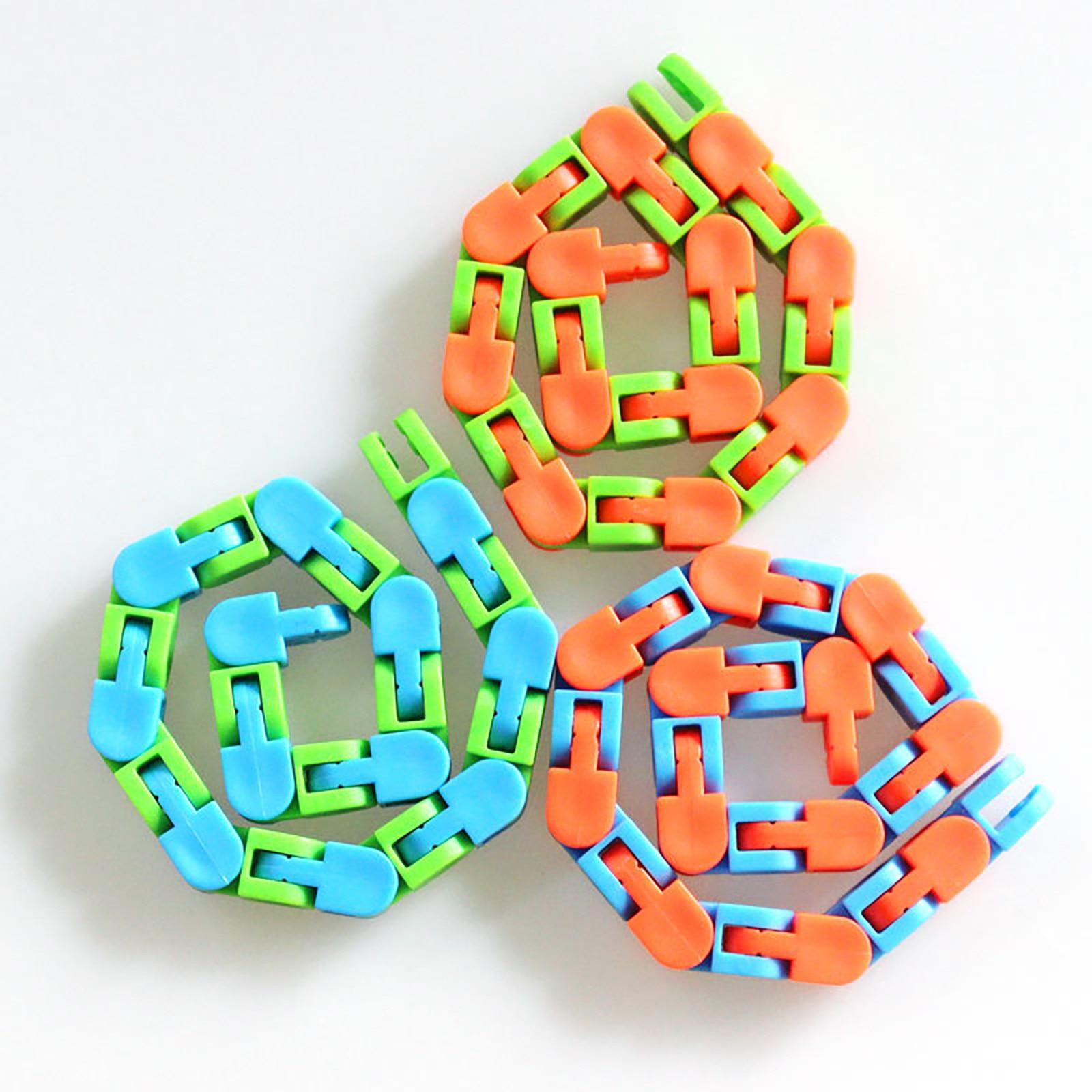 Fidget-Toys Sensory-Toy Snap Autism Wacky Tracks Snake Click Kids Multicolor Classic